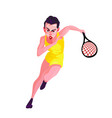 a woman in a yellow sports suit runs with a tennis vector image vector image