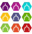 ancient arch icons set 9 vector image vector image
