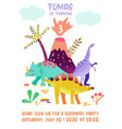 baby birthday invitation card with funny dinosaur vector image vector image