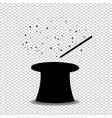 black silhouette of magical cylinder top hat and vector image vector image