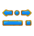 cartoon gold old blue buttons for game or web vector image vector image