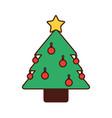 christmas tree pine star ball decoration ornament vector image