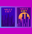 cityscape poster in futurism style night city of vector image vector image
