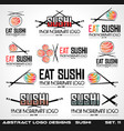 collection of sushi restaurant flat style logo vector image