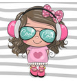 cool cartoon cute girl with sun glasses vector image vector image