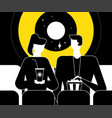 couple at the cinema - flat design style vector image