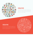 creative concept in circle with thin line icons vector image vector image