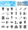 dental glyph icon set stomatology symbols vector image