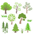 different tree and grass icon set vector image vector image