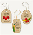 eco green stamp labels of healthy organic food vector image vector image