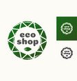 eco shop logo with leaf vector image vector image