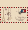 envelope or postcard with eiffel tower vector image vector image