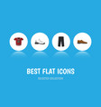 flat icon dress set of t-shirt male footware vector image vector image