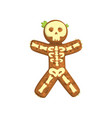 gingerbread man looks like skeleton christmas vector image vector image