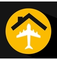 hand holding airplane design vector image vector image