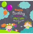 Happy birthday card with cute angels vector image