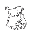 Hare and Leveret Eating Carrot Outline for Kids vector image vector image