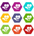 health protection icons set 9 vector image vector image