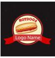 hotdogs logo name circle ribbon black background v vector image vector image