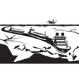 Icebreaker make way for industrial ships vector image vector image