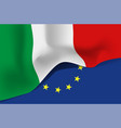 italy national waving flag on european union vector image vector image