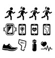 jogging people running apps icons set vector image vector image