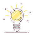 light bulb with rays shine energy and idea symbol vector image vector image