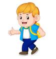 little boy going to school vector image vector image
