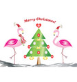 merry christmas card - two flamingos in love vector image
