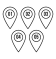Numbered pin markers icon outline style vector image