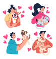 people man woman owners hugging their dog cat pets vector image