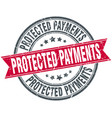protected payments round grunge ribbon stamp vector image vector image