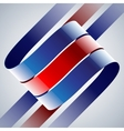 Red and blue shiny curved ribbons on white vector image vector image