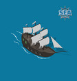 sailer ghost on a blue background vector image vector image