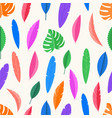 seamless pattern color leaves background vector image vector image