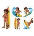 set black young surfer girl vector image vector image