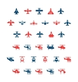 set color icons planes and helicopters vector image vector image
