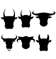 Set of Bull Heads Silhouettes vector image vector image