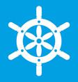 ship wheel icon white vector image vector image
