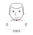 smiling businessman line of businessman holding a vector image vector image