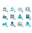 stylized justice and judicial system icons vector image