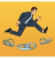 Successful Businessman Jumping Over the Trap vector image