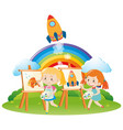 two girls paintin on canvas in garden vector image vector image