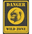 warning sign danger signal with gorilla eps 8 vector image vector image