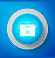 white cooler bag icon isolated on blue background vector image vector image