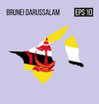 brunei darussalam map border with flag eps10 vector image