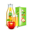 apple juice in glass bottle and packaging 3d vector image vector image