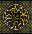 Arabic golden luxury seamless pattern on black