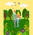 back view hugging people walking in forest vector image vector image