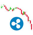 candlestick chart ripple fall flat icon vector image